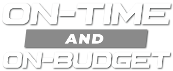 on-time and on-budget graphic