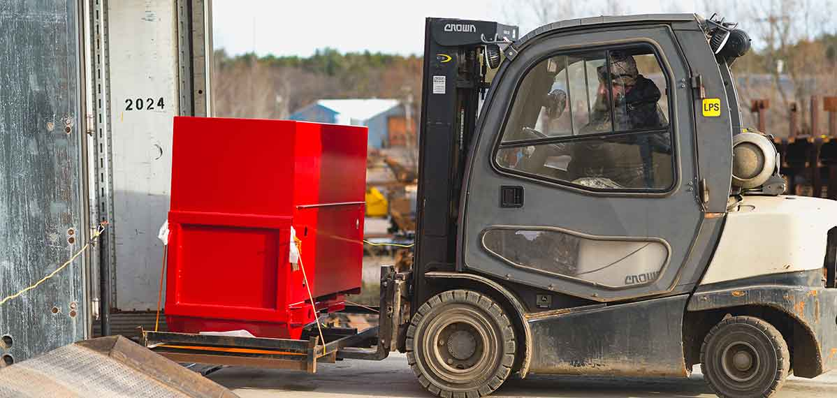 forklift loading delivery truck with finished parts